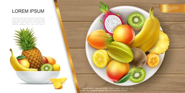 Concepto de comida de verano fresca y saludable realista con plato de plátano, kiwi, mango, piña, kumquat, carambola, frutas de dragón y su ilustración de rodajas