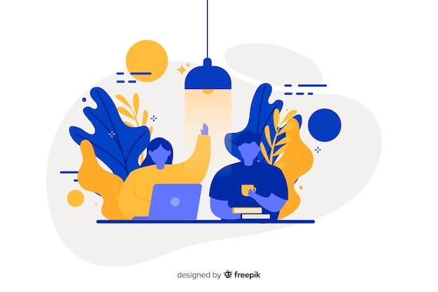 Concepto de compañeros de trabajo de diseño plano para página de inicio
