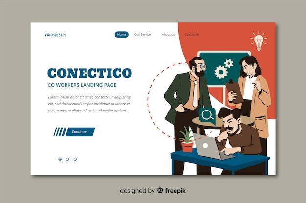 Concepto de compañeros de trabajo para la página de inicio