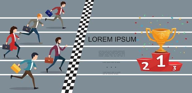 Concepto de competencia empresarial plana con empresarios y empresaria corriendo a la copa de oro en el podio rojo