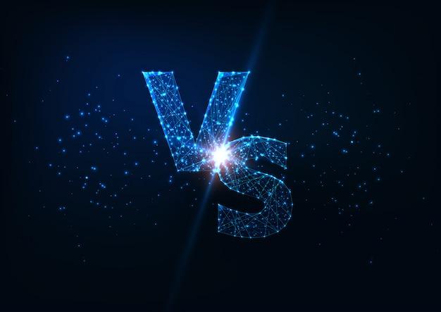 Concepto de competencia futurista con letras poligonales bajas brillantes vs sobre fondo azul oscuro.