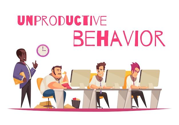 Concepto de comportamiento improductivo con símbolos de comer en exceso y glotonería planas