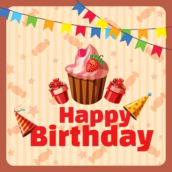 Concepto de composición de feliz cumpleaños, estilo de dibujos animados