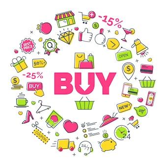 Concepto de compra con iconos de líneas modernas en blanco