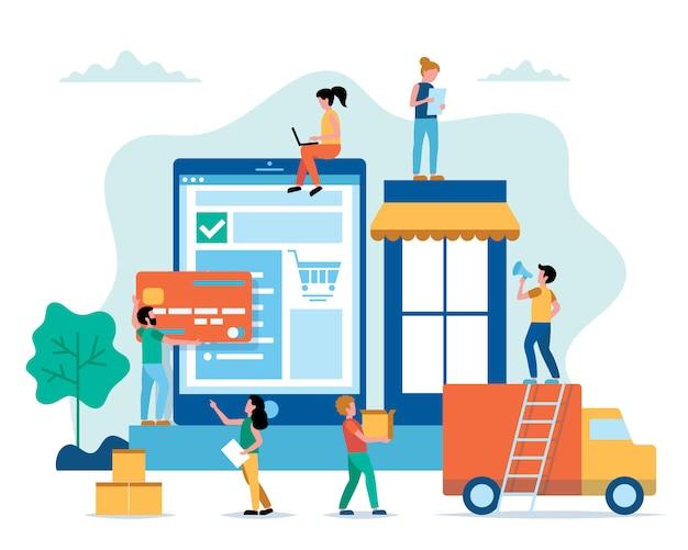 Concepto de compra en línea en estilo plano con gente pequeña.