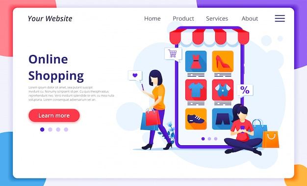 Concepto de compra en línea, mujeres jóvenes comprando productos en la tienda de aplicaciones móviles en línea.