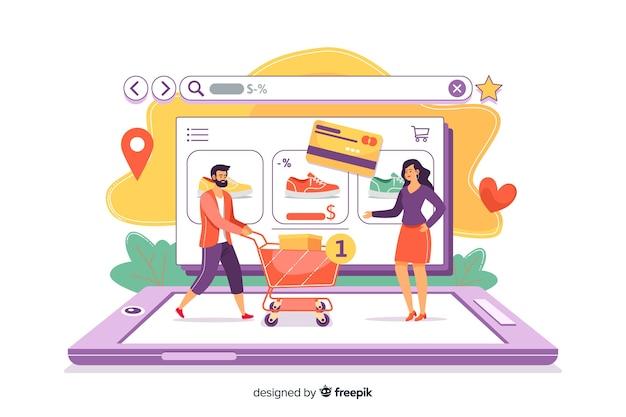 Concepto de compra en línea para la página de destino
