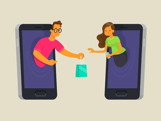 Concepto de compra en línea. el vendedor en el teléfono vende los bienes al comprador. compre a través de la aplicación en su dispositivo móvil
