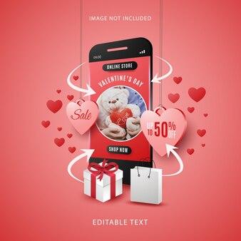 Concepto de compra en línea de venta de san valentín en dispositivos móviles con texto editable