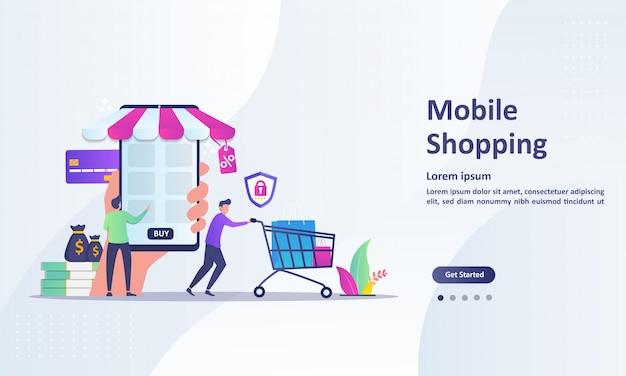 Concepto de compra móvil para comercio electrónico