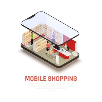 Concepto de compra móvil con símbolos de comercio electrónico isométricos