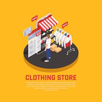 Concepto de compra móvil con símbolos de tienda de ropa isométrica