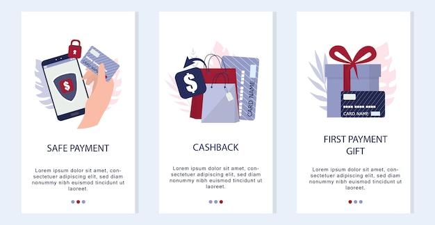 Concepto de compra online. banner de aplicaciones móviles de comercio electrónico. anuncio de aplicación de marketing móvil y banner de redes sociales. ilustración