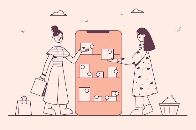 Concepto de compra online y compra por internet