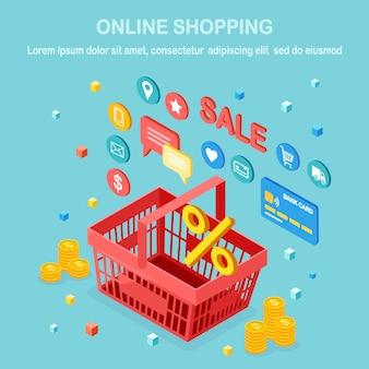 Concepto de compra online. compra en tienda minorista por internet. venta de descuento. canasta isométrica con dinero, tarjeta de crédito, revisión de clientes, comentarios, iconos de la tienda. para banner