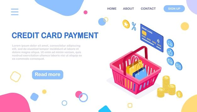 Concepto de compra online. compra en tienda minorista por internet. venta de descuento. cesta isométrica, dinero, bolso