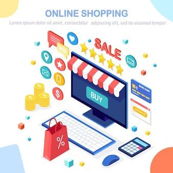 Concepto de compra online. compra en tienda minorista por internet. venta de descuento. computadora isométrica, computadora portátil con dinero, tarjeta de crédito, revisión del cliente, comentarios, bolsa, paquete. para banner web