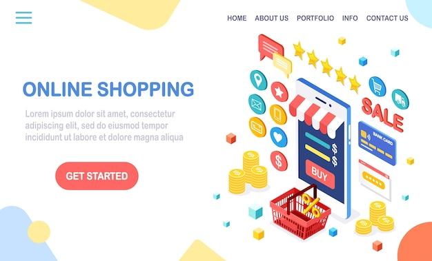 Concepto de compra online. compra en tienda minorista por internet. venta de descuento. teléfono móvil isométrico, teléfono inteligente con dinero, tarjeta de crédito, revisión del cliente, comentarios, bolso, canasta.