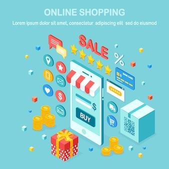 Concepto de compra online. compra en tienda minorista por internet. venta de descuento. teléfono móvil isométrico, teléfono inteligente con dinero, tarjeta de crédito, revisión del cliente, comentarios, caja de regalo.