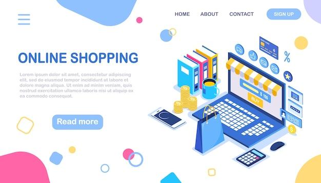 Concepto de compra online. comprar en tienda por internet venta de descuento computadora isométrica, dinero, bolsa