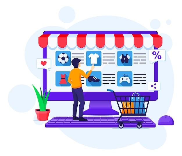 Concepto de compra online, un hombre elige y compra productos en la tienda online.