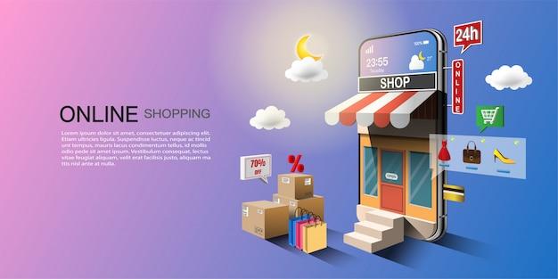 Concepto de compra online, marketing digital en sitio web y aplicación móvil.