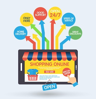 Concepto de compra online con smartphone e iconos
