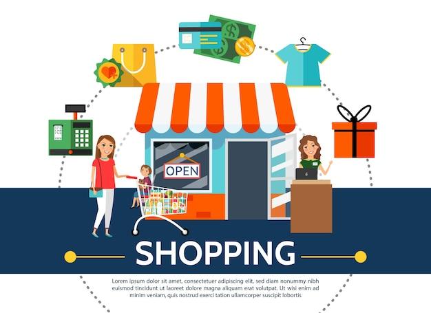 Concepto de compra plana