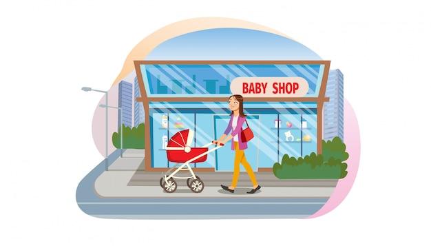 El concepto compra productos infantiles en baby store.