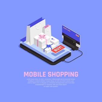 Concepto de compras y comercio electrónico móvil con símbolos de pedido en línea isométricos