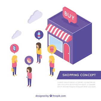 Concepto de compras con diseño plano