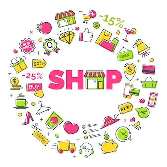 Concepto de compras con iconos modernos de líneas finas