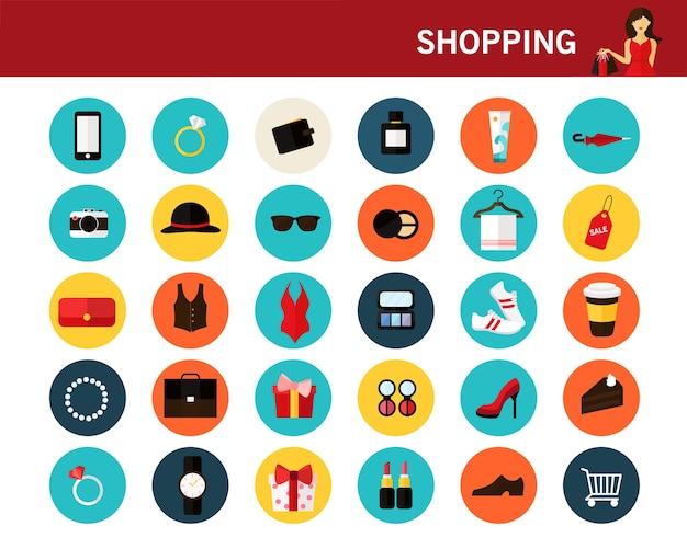 Concepto de compras iconos planos.