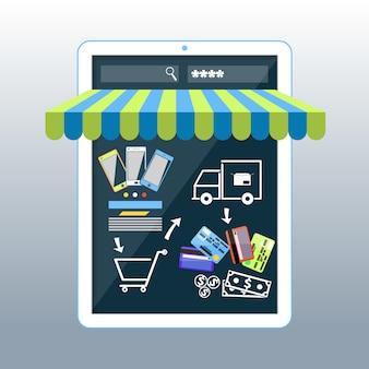 Concepto de compras por internet smartphone con toldo