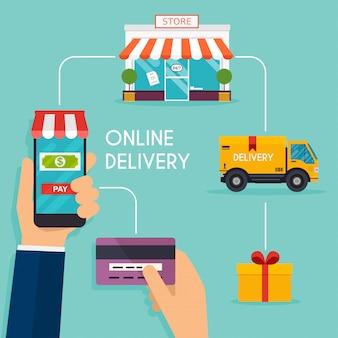Concepto de compras en línea y comercio electrónico. iconos para marketing móvil.