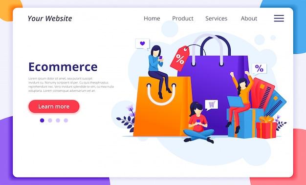Concepto de compras en línea, comercio electrónico con personajes, bolsas de compras, tarjetas, cajas de regalo.