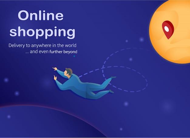 Concepto de compras en línea, customen en el espacio ultraterrestre.