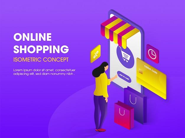 Concepto de compras en línea, ilustración isométrica.