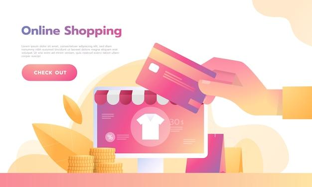 Concepto de compras en línea isométrica teléfono inteligente con pago con tarjeta de crédito.