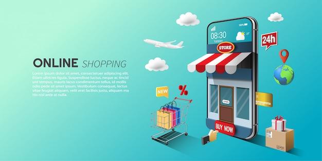 Concepto de compras en línea, marketing digital en el sitio web y aplicación móvil.