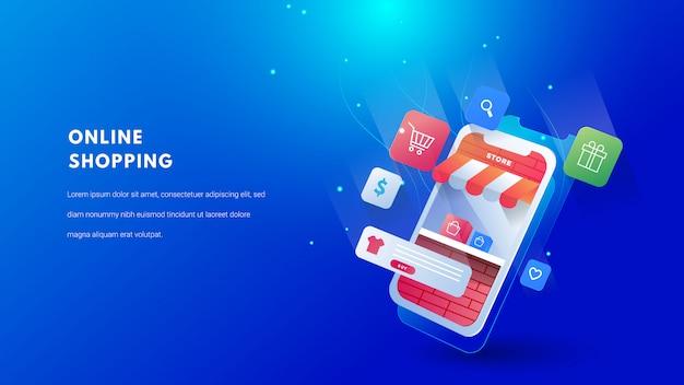 Concepto de compras en línea móvil 3d. publicidad digital