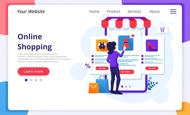 Concepto de compras en línea, una mujer elige y compra productos en la tienda de aplicaciones móviles en línea.