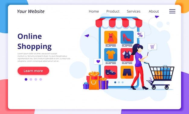 Concepto de compras en línea, una mujer joven con carrito de compras comprando productos en la tienda de aplicaciones móviles.