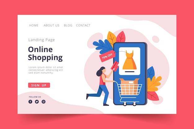Concepto de compras en línea de la página de inicio de diseño plano