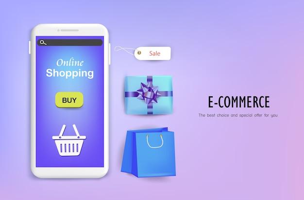 Concepto de compras en línea sobre el fondo púrpura