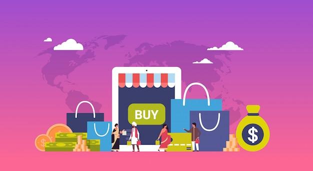 Concepto de compras en línea sobre paquetes de papel dinero dólar banner