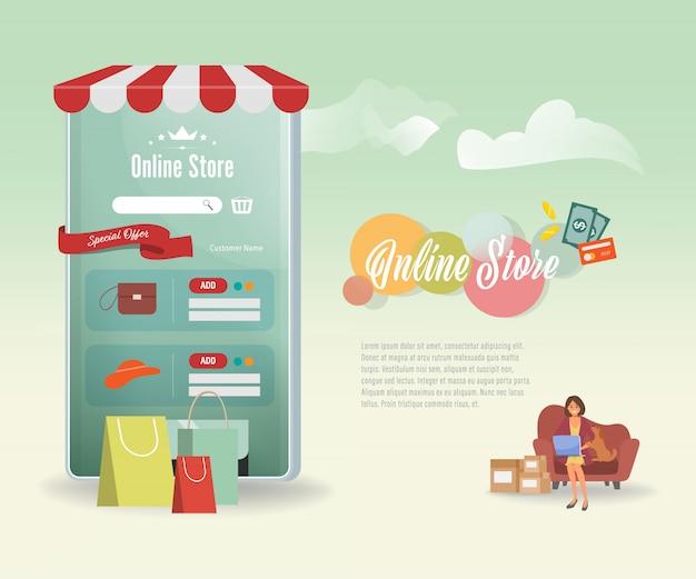 Concepto de compras móviles en línea aplicación de sitio web de comercio electrónico.