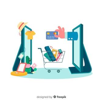 Concepto de compras online para landing page