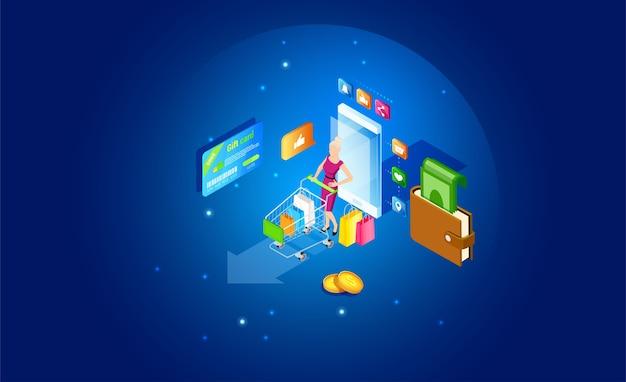Concepto de compras de teléfonos inteligentes en línea isométrica. tienda en línea, compras desde el hogar con teléfonos inteligentes. comercio electrónico y marketing móvil. venta, retail. plantilla de marketing móvil y comercio electrónico