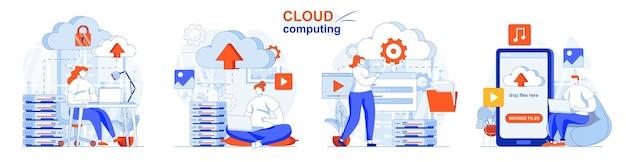 Concepto de computación en la nube conjunto de servidores de servicios en la nube para almacenar y procesar datos